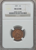 1871 1C MS63 Red and Brown NGC