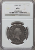 Early Half Dollars: , 1795 50C 2 Leaves VG8 NGC. NGC Census: (86/792). PCGS Population(165/1214). Mintage: 299,680. Numismedia Wsl. Price for pr...