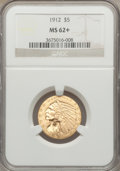 Indian Half Eagles: , 1912 $5 MS62+ NGC. NGC Census: (3746/1494). PCGS Population(2677/1829). Mintage: 790,000. Numismedia Wsl. Price for proble...