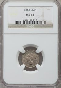 1882 3CN MS62 NGC. NGC Census: (3/42). PCGS Population (7/77). Mintage: 22,200. Numismedia Wsl. Price for problem free N...
