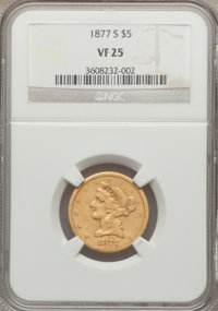 1877-S $5 VF25 NGC. NGC Census: (6/105). PCGS Population (1/83). Mintage: 26,700. Numismedia Wsl. Price for problem free...