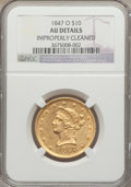 Liberty Eagles: , 1847-O $10 -- Improperly Cleaned -- NGC Details. AU. NGC Census:(104/352). PCGS Population (86/81). Mintage: 571,500. Numi...