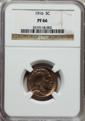 Proof Buffalo Nickels: , 1916 5C PR66 NGC. NGC Census: (54/21). PCGS Population (94/35).Mintage: 600. Numismedia Wsl. Price for problem free NGC/PC...