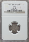 Early Half Dimes, 1797 H10C 15 Stars XF45 NGC. LM-1. NGC Census: (12/91). PCGSPopulation (13/56). Mintage: 44,527. Numismedia Wsl. Price for...
