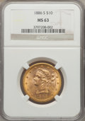 1886-S $10 MS63 NGC. NGC Census: (262/14). PCGS Population (277/15). Mintage: 826,000. Numismedia Wsl. Price for problem...