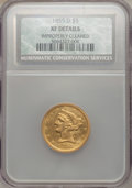 Liberty Half Eagles: , 1855-D $5 Large D -- Improperly Cleaned -- NCS. XF Details. NGC Census: (11/65). PCGS Population (20/58). Mintage: 22,432. ...