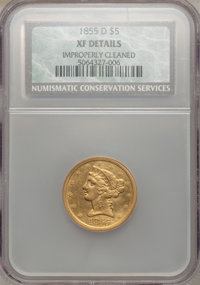 1855-D $5 Large D -- Improperly Cleaned -- NCS. XF Details. NGC Census: (11/65). PCGS Population (20/58). Mintage: 22,43...