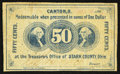 Obsoletes By State:Ohio, Canton, OH- The Treasurer of Stark County 50¢ 186_ (Faded) Wolka0284-09. ...