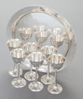 Silver Holloware, American:Cups, A SET OF SIX LEBOLT & CO. SILVER GOBLETS WITH TRAY. Lebolt& Co., Chicago, Illinois, circa 1915. Marks: (L in diamond),HA... (Total: 7 Items)