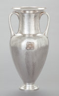 Silver & Vertu:Hollowware, A MARCUS & CO. HAMMERED SILVER AMPHORA VASE WITH INSIGNIA OF THE YALE SECRET SOCIETY BOOK AND SNAKE . Marcus & Co, N...