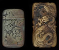 Silver Smalls:Match Safes, AN AMERICAN SILVER PLATED AND A JAPANESE GILT METAL MATCH SAFE.Makers unknown, circa 1900. Marks: P SILVER (on silver c...(Total: 2 )