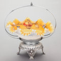 Silver Holloware, American, A MERIDEN SILVER-PLATED STAND WITH ENAMELED GLASS BOWL. Meriden Silver Plate Co., Meriden, Connecticut, circa 1900. Marks: ...