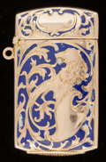 Silver Smalls:Match Safes, AN AMERICAN 14K GOLD AND ENAMEL MATCH SAFE . Maker unknown, circa1900. Marks: 14K. 2-3/8 inches high (6.0 cm). 0.54 tro...