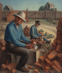 JESSIE DAVIS (American, 1887-1969) Brick Cleaners, circa 1930-1 Oil on canvas 26 x 22 inches (66