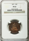 Proof Seated Quarters: , 1871 25C PR63 NGC. NGC Census: (30/54). PCGS Population (39/40).Mintage: 960. Numismedia Wsl. Price for problem free NGC/P...