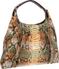 Luxury Accessories:Bags, Nancy Gonzalez Metallic Green Python Shoulder Bag . ...