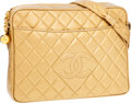 Luxury Accessories:Bags, Chanel Gold Quilted Lambskin Leather Shoulder Bag . ...