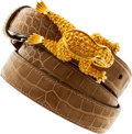 Luxury Accessories:Accessories, Kieselstein Cord Tan Alligator Belt with Gold Tone Frog Closure....