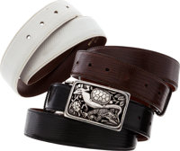 Kieselstein Cord Sterling Silver Turtle, Ladybug, Frog & Iguana Belt Buckle with Black, Brown & White Lizard Bel...