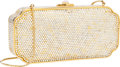 Luxury Accessories:Bags, Judith Leiber Full Bead White & Gold Crystal Minaudiere EveningBag. ...