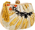 Luxury Accessories:Bags, Judith Leiber Gold Leather & Gold Sequin Box Evening ClutchBag. ...