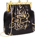 Luxury Accessories:Bags, Judith Leiber Black Leather Square Evening Bag with Gold-PaintedFloral Pattern Jeweled Accents. ...