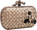 Luxury Accessories:Bags, Bottega Veneta Metallic Silver Intrecciato Leather Knot Clutch Bagwith Floral Detail . ...