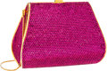 Luxury Accessories:Bags, Judith Leiber Full Bead Fuchsia Crystal Classic Minaudiere EveningBag . ...