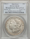 Errors, 1921-S $1 Morgan Dollar -- Broadstruck Out Of Collar -- XF45 PCGS....