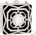 Luxury Accessories:Bags, Judith Leiber Half Bead Black & White Crystal Square MinaudiereEvening Bag. ...