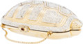 Luxury Accessories:Bags, Judith Leiber Full Bead Gold Crystal Turtle Minaudiere Evening Bag....