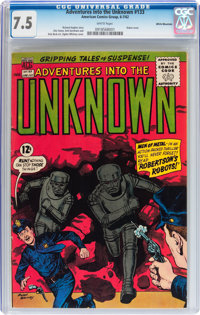 Adventures Into The Unknown #133 White Mountain pedigree (ACG, 1962) CGC VF- 7.5 White pages