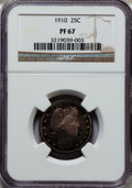 Proof Barber Quarters: , 1910 25C PR67 NGC. NGC Census: (22/9). PCGS Population (15/4). Mintage: 551. Numismedia Wsl. Price for problem free NGC/PCG...