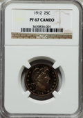 Proof Barber Quarters: , 1912 25C PR67 Cameo NGC. NGC Census: (9/0). PCGS Population (5/1). ...