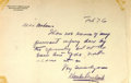 Autographs:Authors, Hamlin Garland (1860-1940, American author) Autograph Letter Signed. February [18]76. Stationery. Measures 8 x 5.5 inches. F...
