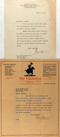 Autographs:Authors, Hermann Hagedorn (1882-1964, American author) Two Typed LettersSigned. One dated September 10, 1917, the other March 20, 19...