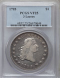 Early Dollars: , 1795 $1 Flowing Hair, Three Leaves VF25 PCGS. PCGS Population(150/682). NGC Census: (81/719). Mintage: 160,295. Numismedia...