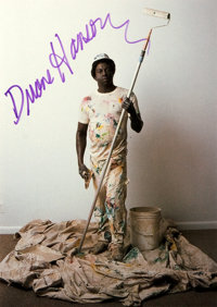 Duane Hanson (1925-1996, American artist) Autograph. Ca. 1989. Autograph on a promotional mailer for one of Hanson's