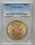 Liberty Double Eagles: , 1890-S $20 MS61 PCGS. PCGS Population (284/684). NGC Census: (618/450). Mintage: 802,750. Numismedia Wsl. Price for problem...