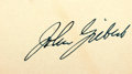 Autographs:Authors, John Gilbert (1897-1936, actor) Clipped Signature. Measures 3.5 x 2inches. Includes envelope dates March 19, 1935, though i...