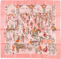 "Luxury Accessories:Accessories, Hermes 90cm Pink & White ""Soiree de Gala,"" by Jean-Louis ClercSilk Scarf. ..."