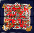 "Luxury Accessories:Accessories, Hermes 90cm Red & White ""Au Fil de la Soie,"" by Annie FaivreSilk Scarf. ..."