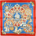 "Luxury Accessories:Accessories, Hermes 90cm Red & Blue ""L'Air Marin,"" by Joachim Metz SilkScarf. ..."