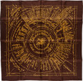 "Luxury Accessories:Accessories, Hermes 90cm Brown & Gold ""Naissance d'une Idee,"" by MichelDuchene Silk Scarf. ..."