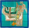 "Luxury Accessories:Accessories, Hermes 90cm Turquoise, Blue & Gold ""Selle d'Apparat Marocaine,"" by Wlodek Kaminski Silk Scarf. ..."