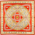 "Luxury Accessories:Accessories, Hermes 90cm Red & Beige ""Donner la Main,"" by Karen PetrossianSilk Scarf. ..."