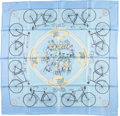 "Luxury Accessories:Accessories, Hermes 90cm Blue ""Les Becanes,"" by Hugo Grygkar Silk Scarf. ..."