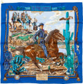 "Luxury Accessories:Accessories, Hermes 70cm Royal Blue & Navy ""The Pony Express,"" by KermitOliver Silk Pochette Scarf. ..."