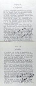 Autographs:Authors, Frederick Forsyth (b. 1938, English author). Two Typescript Pagesfrom The Dogs of War Signed. Includes first pa...