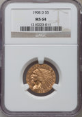 Indian Half Eagles: , 1908-D $5 MS64 NGC. NGC Census: (487/4). PCGS Population (348/11).Mintage: 148,000. Numismedia Wsl. Price for problem free...